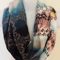Uniquely Patterned Infinity Scarf Ombre Scarf Womens Circle Scarf Spring Eternity Loop Ethnic Scarf Tribal Scarf Fashion Scarf Accessories