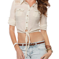 Papaya Clothing Online :: FRONT KNOT LACY SHOULDER BLOUSE