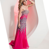 Jasz Couture 2013 Prom - Fuchsia Strapless Gown With Turquoise Rhinestone Designs - Unique Vintage - Cocktail, Pinup, Holiday & Prom Dresses.