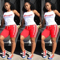 Champion Popular Woman Print Sleeveless Top Shorts Set Two Piece Red