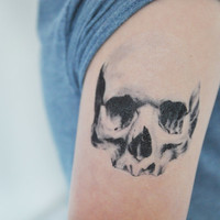 Skull Temporary Tattoo, Gothic Art, Large Temporary Tattoo, Tattoo Temporary, Skull Sketch, Black, Birthday Gifts Men, Gift Idea