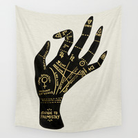 Palmistry Wall Tapestry by Cat Coquillette