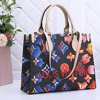 Louis Vuitton LV Square Bag Shopping Bag Handbag Black+Blue Yellow print