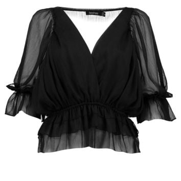 Evie Ruffle Detail Wrap Over Blouse | Boohoo