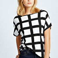 Allie Large Grid Check Oversized Tee