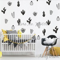Cactus Wall Decals Woodland Tribal Cactus Wall Stickers for Kids Room Boy Nursery Decor Art Succulent and Cacti Wall Tattoo A813