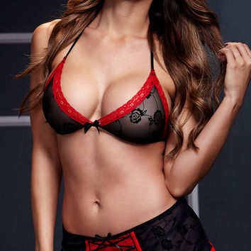 Red and Black Lace Bra and Skirt Set