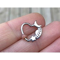 Moon Star Spaceship Daith Hoop Ring Rook Hoop Cartilage Helix Tragus