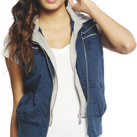 Twill Hooded Vest   Wet Seal