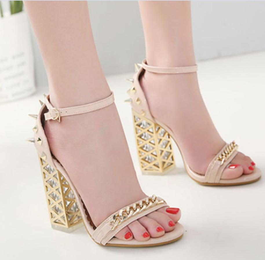 Image of New crystal studs, high-heeled open-toe sandals for women