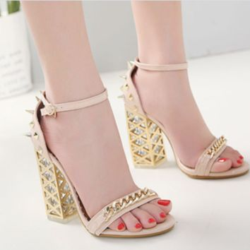 New crystal studs, high-heeled open-toe sandals for women