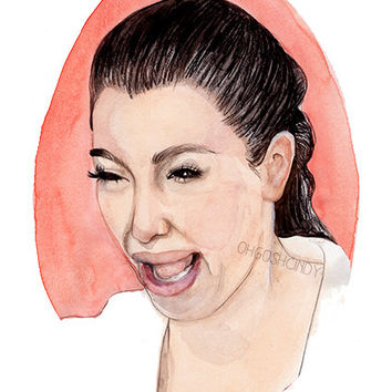 Crying Kim Kardashian watercolor portrait illustration PRINT Keeping up with the Kardashians