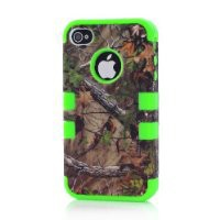 Bayke® iPhone 4 4S 3in1 Hybrid Camouflage Camo Tree Print Dirtproof Defender Case + Green Rubber Silicone