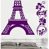 Vinyl Wall Decal France Paris Eiffel Tower Flowers Bedroom Design Stickers Unique Gift (791ig)