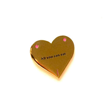 "1"" All You Can Eat- Hard Enamel Gold Lapel Pin Brooch"