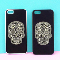 Sugar Skull--iphone 4 case,iPhone 5 Case,Samsung Galaxy S3 Case  in durable black or white plastic
