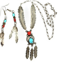 Navajo Feather Earring Necklace Set Turquoise Coral Sterling Silver