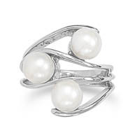 Rhodium Plated 3 Cultured Freshwater Pearl Ring