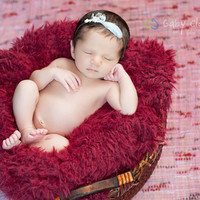 Newborn Lace, Pearls and Feather Halo Headband