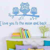 Wall Decal Quote I love you to the moon and back Phrase Bedroom Nursery C238