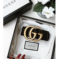 GUCCI classic double G buckle men and women versatile smooth buckle belt