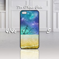 Infinity Anchor Refuse to Sink Blue Ocean Beach, Design For iPhone 4/4s Case or iPhone 5 Case - Black or White (Option)