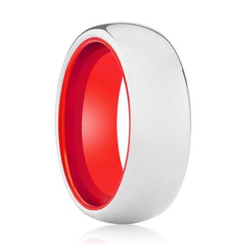 POPPY Tungsten Silver Shiny and Red Inside Aluminum Ring