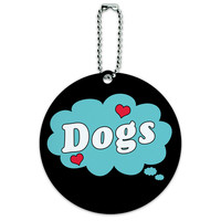 Dreaming of Dogs Blue Round ID Card Luggage Tag
