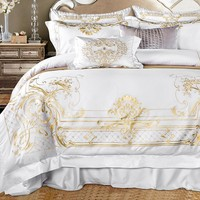 Luxury White Egyptian Cotton Royal Bedding set Golden Embroidered Super King Queen size Bed sheet set Duvet cover Bedding sets