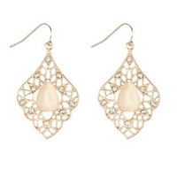 Dangling Cabochon Earrings by Charlotte Russe - Gold