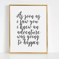 """Winnie the pooh quote """"ADVENTURE"""" love quote wall art print Personalized couples wedding sign Gift Women Love Quote For Her Home Decor"""