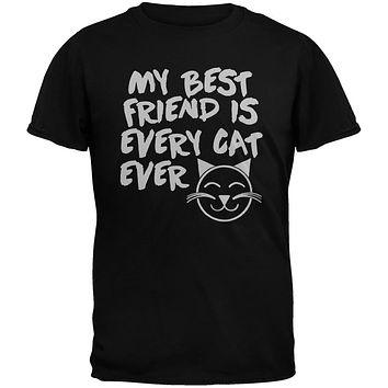My Best Friend Is Every Cat Ever Black Youth T-Shirt