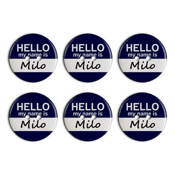 Milo Hello My Name Is Plastic Resin Button Set of 6