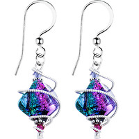 Handcrafted Spiral Dichroic Glass Earrings MADE WITH SWAROVSKI ELEMENTS | Body Candy Body Jewelry