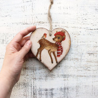 Rustic wooden heart Christmas ornament Christmas decoration cottage chic shabby chic red white brown billfinch santa raindeer