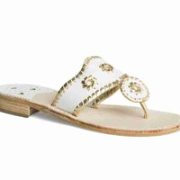 Exclusive Jacks Sandal White / Gold - Jack Rogers USA