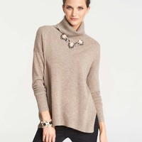 Collectible Cashmere Side Slit Turtleneck Sweater