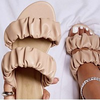Summer new hot selling all-match imitation leather flat slippers