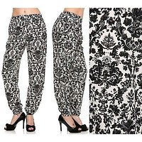 Floral Printed Casual Harem Stretch Waistband Ankle Length Woven Pant Jogger