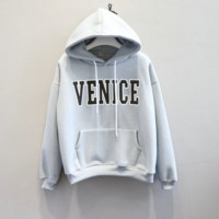 Autumn and winter new student Hooded cotton sweater plus velvet thick coat women tide Blue-gray