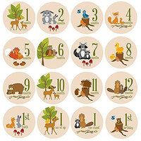 Baby Milestone Stickers by ZELDA MATILDA Gorgeous Woodland Critters Monthly Growth Bodysuit Stickers Beautiful and Original 16 piece - 4 Inch Sticker Set for Clothing - A Must Have For Baby Pictures!
