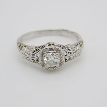 Antique Victorian 14k White Gold Filigree Solitaire Diamond Engagement Ring