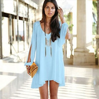 Fashion Temptation Tunic Top With Long Cutout Sleeves