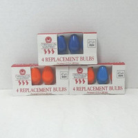 3 Packages of 9, 1980s Holiday Time Replacement Christmas Bulbs in Blue, Orange, White, Original Package, Indoor Candelabra, Christmas Decor