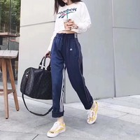 """Reebok"" Women Fashion Stripe Letter Pattern Print Long Sleeve Sweater Crop Tops Trousers Set Two-Piece Sportswear"