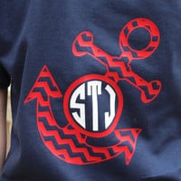 Preppy Large Chevron Anchor Monogrammed T-Shirt