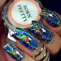 BORN PRETTY Galaxy Holographic Nail Glitter 1 Box Laser Holo Nail Sequins Paillettes Powder Nail Glitter Dust 0.2g 0.5g Optional