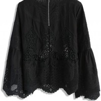 Beauty Full Lace Cutout Top in Black - Retro, Indie and Unique Fashion