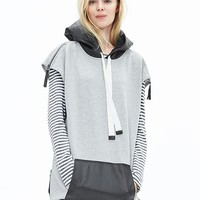 Banana Republic Womens Pieced Faux Leather Hoodie