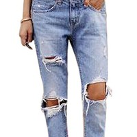 J-DEAL® Women Destroyed Ripped Jeans
